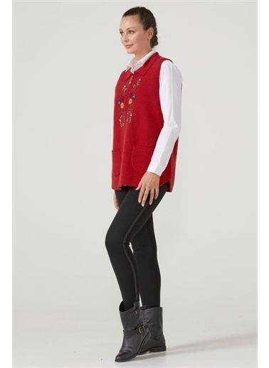 Sementa Kadın Fermuarlı Triko Yelek - Kırmızı Kırmızı